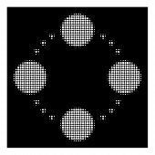 Halftone Pixelated Circular Relations Icon. White Pictogram With Pixelated Geometric Pattern On A Bl poster