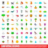 100 Vital Icons Set In Cartoon Style For Any Design Illustration poster