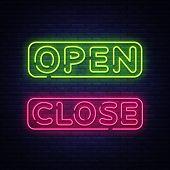 Open Close Neon Text Vector. Open Close Neon Signboard, Design Template, Modern Trend Design, Night  poster