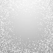 Magic Stars Sparse Christmas Background. Subtle Flying Snow Flakes And Stars On Light Grey Backgroun poster