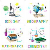Biology And Geography Posters Set With Title. Basic Subjects About Planets Numbers And Chemical Proc poster