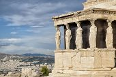 Caryatids at Erechtheum of Parthenon in Athens Greece Erechtheion poster