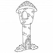 Tower Of The Castle Icon. Vector Illustration Of A Stone Castle Tower. Hand Drawn Castle, Tower Cast poster