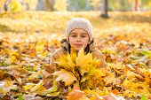 Autumn Portrait: Cute Little Girl Lying On The Fallen Leaves And Holding The Bouquet Of Yellow Maple poster