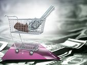 Weapon Gun in a trade cart. US dollars and credit card. 3D rendering poster