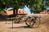 Renovated muzzle-loading cannons at Staverns Fortress (Fredriksvern), Larvik, Vestfold, Norway poster