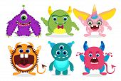 Cute Monster Vector Characters Elements Set With Funny Faces And Beast Creature Looks Isolated In Wh poster