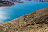 Panoramic View Of Tibet Natural Landscape - Blue Azure Water Lake Surrounded Desert Mountains. Yamdr poster