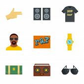 Urban Rap Icon Set. Flat Set Of 9 Urban Rap Vector Icons For Web Design poster