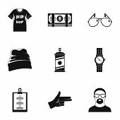 Urban Rap Icon Set. Simple Set Of 9 Urban Rap Vector Icons For Web Design On White Background poster