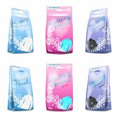 Realistic Set Of Washing Powder In Sachet, Paper Package For White, Black, Colored Clothing. Templat poster