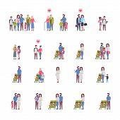 Set Grandparents Parents Children, Multi Generation Family, Full Length Avatar On White Background,  poster