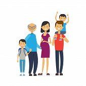 Grandparents Parents Grandchildren, Multi Generation Family, Full Length Avatar On White Background, poster