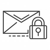 Secured Mail Icon. Outline Secured Mail Vector Icon For Web Design Isolated On White Background poster