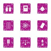 Scientific Figure Icons Set. Grunge Set Of 9 Scientific Figure Icons For Web Isolated On White Backg poster