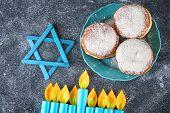 Jewish Holiday Hanukkah And Its Attributes, Menorah, Donuts, Star Of David. Hanukkah Menorah. Hanukk poster