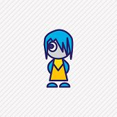 Vector Illustration Of Anime Icon Colored Line. Beautiful Lifestyle Element Also Can Be Used As Cart poster
