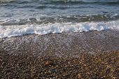 Outstanding Beautiful Sea Breeze. Azov Of Sea In The Crimea. Exciting Sea Waves With Splashes. Backg poster
