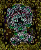 Anime Girl With A Sweater And Stuffed Animal In Neon Light poster