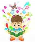 stock photo of reading book  - An illustration of a boy reading an amazing book - JPG