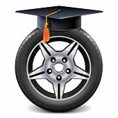 Vector Car Wheel With Square Academic Cap Isolated On White Background poster