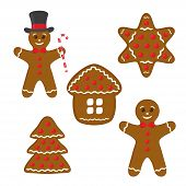 Vector Gingerbread Set - Cookie In Top Hat, Home, Star And Pine. Funny Traditional Sweet Food For Ch poster