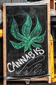 Cannabis blackboard sign in front of store - Marijuana legalisation in Canada on October 17, 2018. I poster