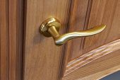 Metal Door Handle In A Wooden Door, Closeup. Door Handle In The Interior. poster