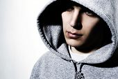 image of hooded sweatshirt  - young man wearing hooded sweatshirt - JPG