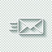Send Mail Icon. Sms Line. White Icon With Shadow On Transparent poster