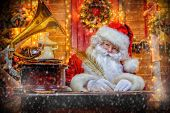 Santa Claus is preparing for Christmas. He writes letters. House of Santa Claus. Christmas decoratio poster
