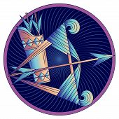 Sagittarius Zodiac Sign, Astrological, Horoscope Symbol. Futuristic Style Icon. Stylized Graphic Blu poster