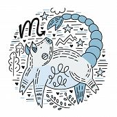 Zodiac Vector Signes - Scorpio Constellation As A Pig, Symbol Of 2019. Hand Drawn Geometrical Icon I poster