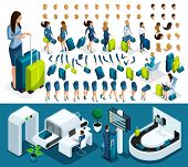 Isometric Set 1 Create Your Character, Business Lady At The Airport. Set Of Gestures Of Hands, Feet, poster