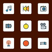 Media Icons Colored Line Set With Previous, Projector, Start And Other Camera Elements. Isolated Vec poster