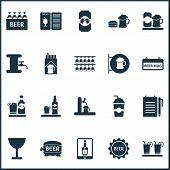 Beverages Icons Set With Beer Tower, Wineglass, Signboard And Other Beer Can Elements. Isolated  Ill poster