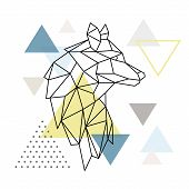 Geometric Wolf Silhouette On Triangle Background. Polygonal Wolf Emblem. Vector Illustration. poster