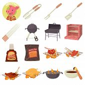 Barbecue Tools Icons Set. Cartoon Illustration Of 16 Barbecue Tools Icons For Web poster
