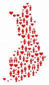 Collage Map Of Finland Formed With Red Lovely Brides And Grooms. Vector Lovely Geographic Abstractio poster