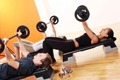 foto of fitness man body  - people group  doing fitness exercise - JPG