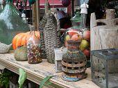 Decorative Vintage Stuff At Flea Market Store Shop - Bottles, Clocks, Lamps, Wicker, Jars And Jugs poster