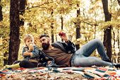 Father And Son Camping. Man With Beard, Dad With Young Son In Autumn Park. Happy Joyful Father With  poster