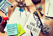 Have a nice day phrase written on a notebook poster