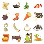 Pirate Culture Symbols Icons Set. Cartoon Illustration Of 16 Pirate Culture Symbols Icons For Web poster