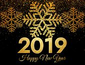 2019 Happy New Year. Golden Confetti And Snowflakes On Dark Background. New Year 2019 Greeting Card. poster