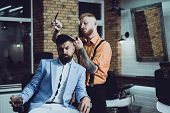 Hair Preparation Is Just For Dashing Chap. Bearded Stylish Barber Shop Client. Bearded Client Visiti poster