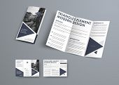 Tri-fold Brochure Design In Modern Style With Triangular Elements And Space For Photo. poster