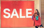 Big Sale- Woman In Shopping. Happy Woman With Shopping Bags Enjoying In Shopping. Consumerism, Shopp poster