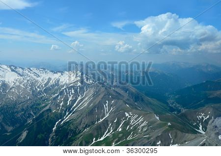 Aerial view of french Alps near Barcelonnette France