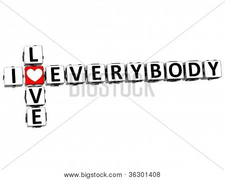 3D I Love Everybody Crossword